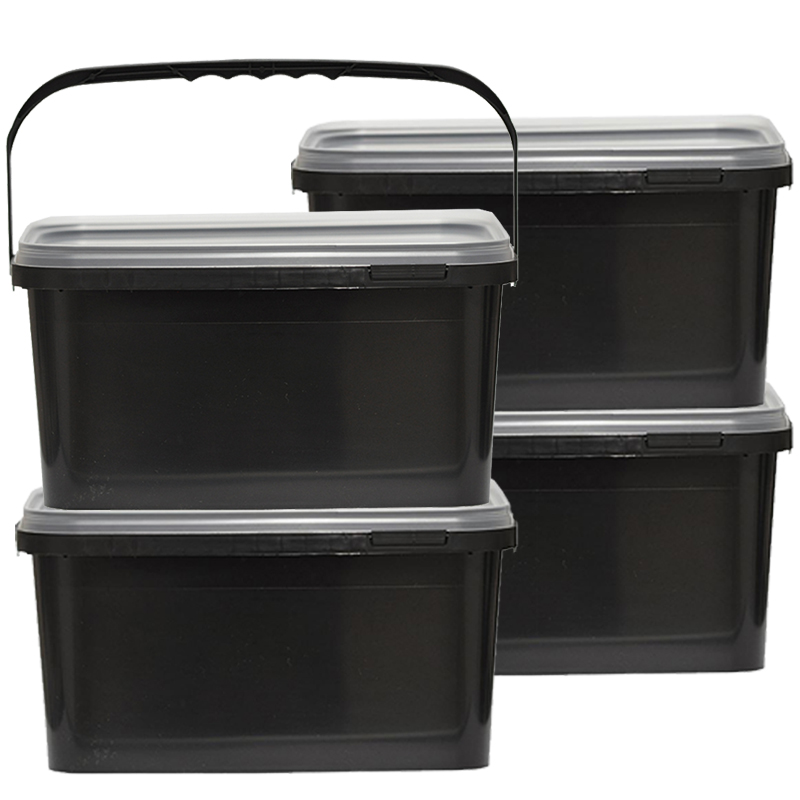 eimer schwarz aufbewahrung leereimer kunststoffeimer deckel plastikeimer 2 5l ebay. Black Bedroom Furniture Sets. Home Design Ideas