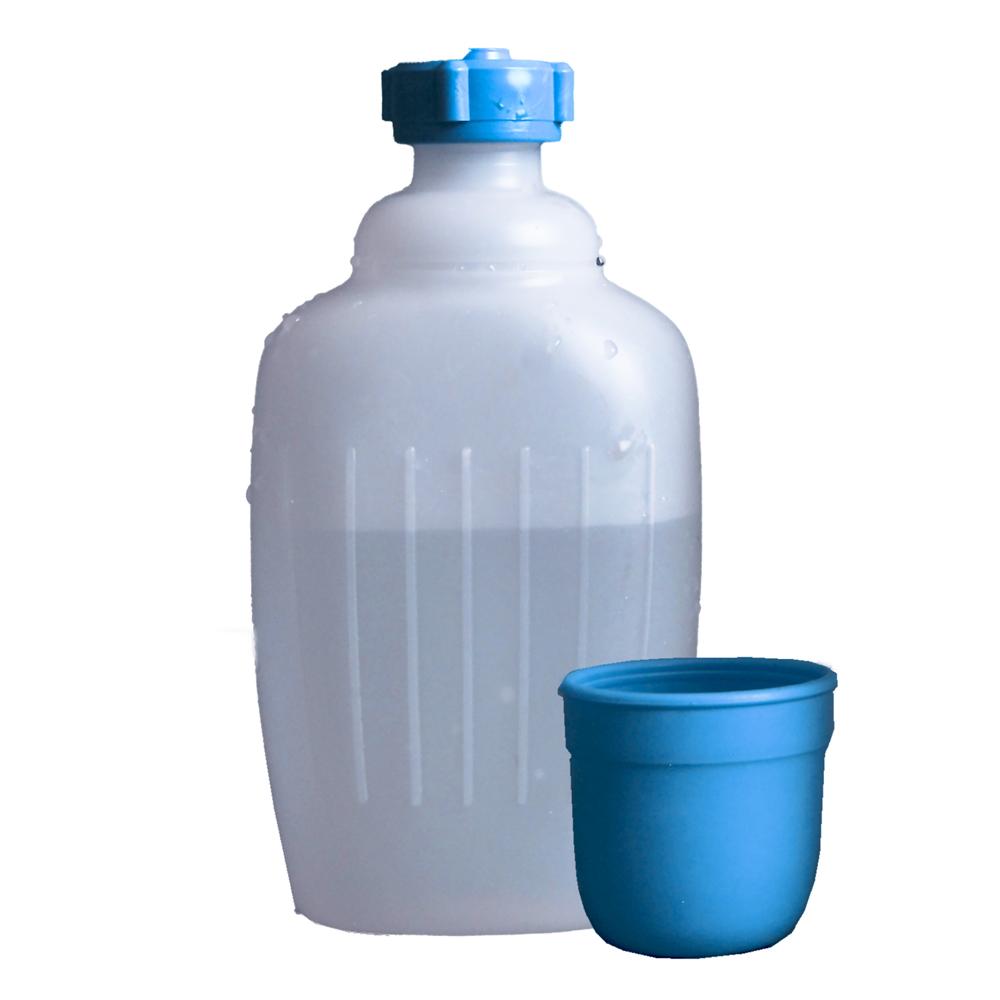 Trinkflasche Wasserflasche Campingflasche Flasche Hünersdorff 500ml HD-PE mit Becher