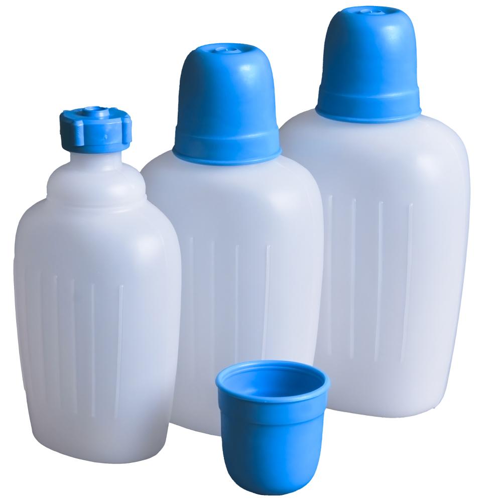 Trinkflasche Wasserflasche Campingflasche Flasche Hünersdorff HD-PE mit Becher