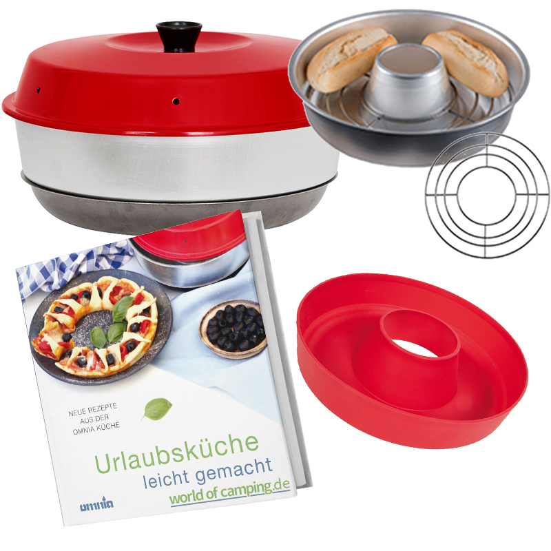 Camping Backofen Omnia Silikon Backform Auflaufform Kochbuch Aufbackgitter Ofen