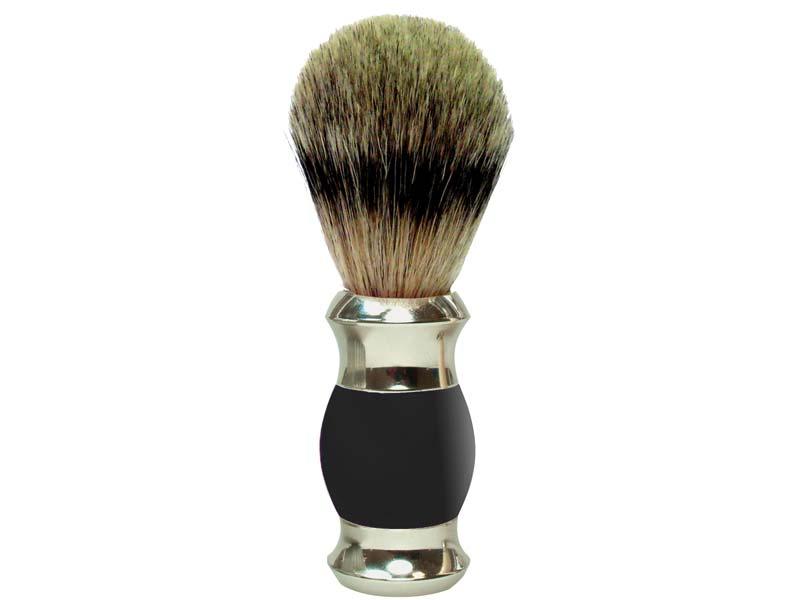 GOLDDACHS Rasierpinsel schwarz/silber, 100% Dachs-Zupfhaar 348639