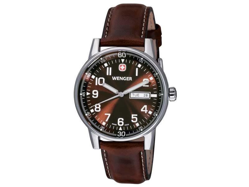 Wenger Uhr Commando Day Date XL, Edelstahlgehäuse, gebürstet,  70162