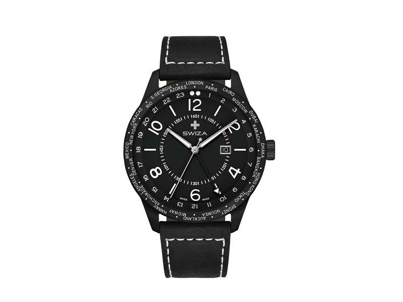 SWIZA Armbanduhr MAGNUS GMT, Ronda 515.24h Uhrwerk, Edelstahl 316L 78054