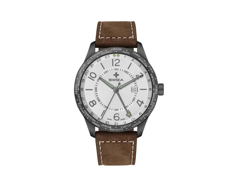 SWIZA Armbanduhr MAGNUS GMT, Ronda 515.24h Uhrwerk, Edelstahl 316L 78055