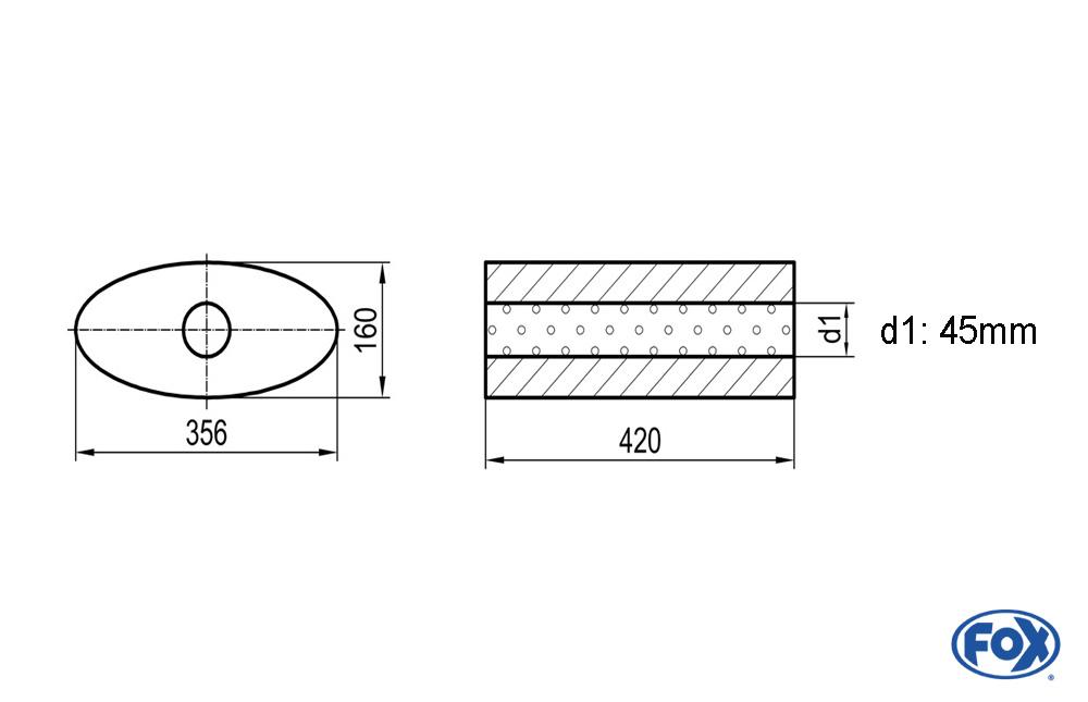 Fox Uni-Schalldämpfer UNI-81842045o für Universalschalldämpfer 818mm (Umfang)