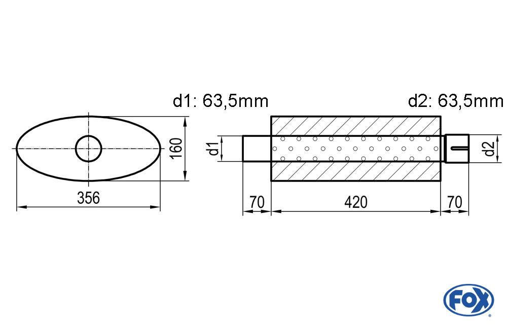 Fox Uni-Schalldämpfer UNI-81842063s für Universalschalldämpfer 818mm (Umfang)