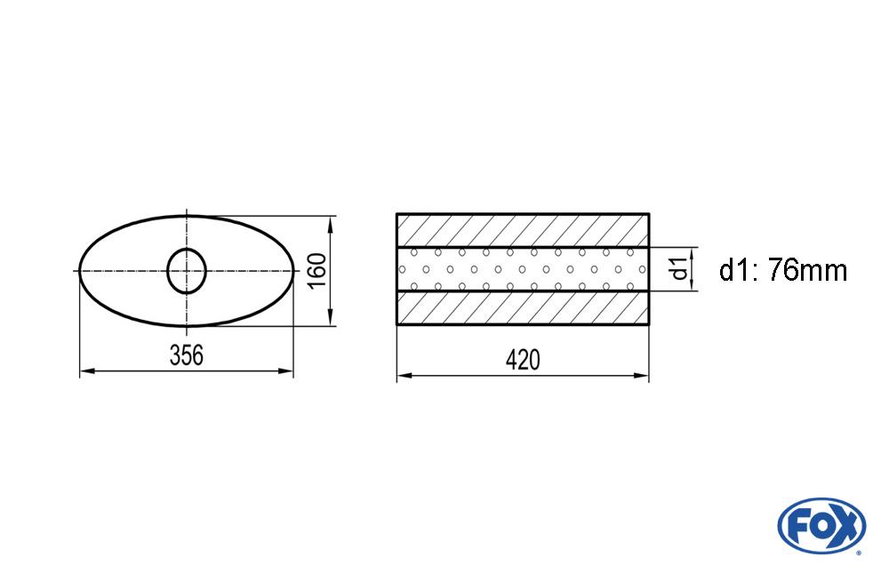 Fox Uni-Schalldämpfer UNI-81842076o für Universalschalldämpfer 818mm (Umfang)