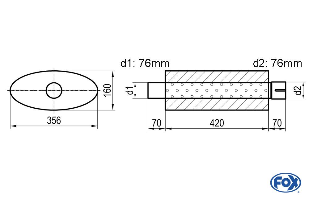 Fox Uni-Schalldämpfer UNI-81842076s für Universalschalldämpfer 818mm (Umfang)