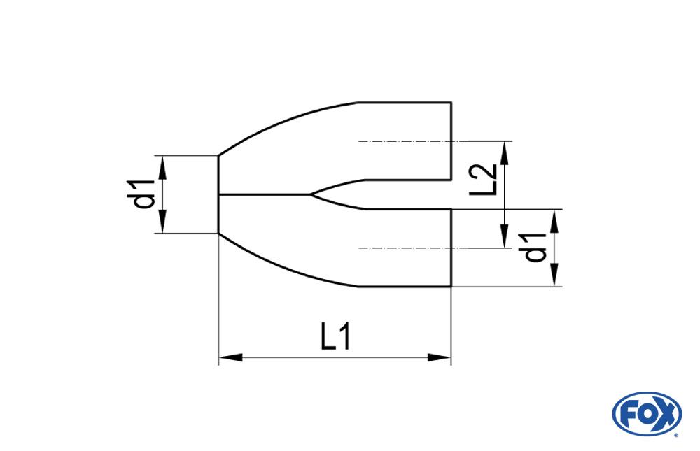 Fox Endrohr UNI-EH55-85 für Y-Adapter