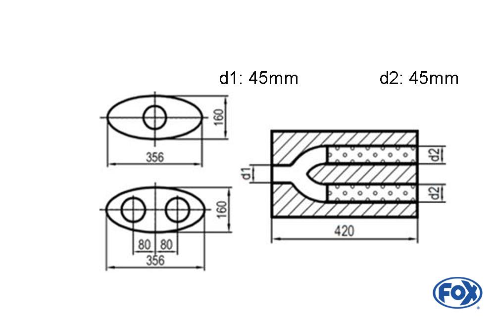 Fox Uni-Schalldämpfer UNI-H8184204540 für Universalschalldämpfer 818mm (Umfang)