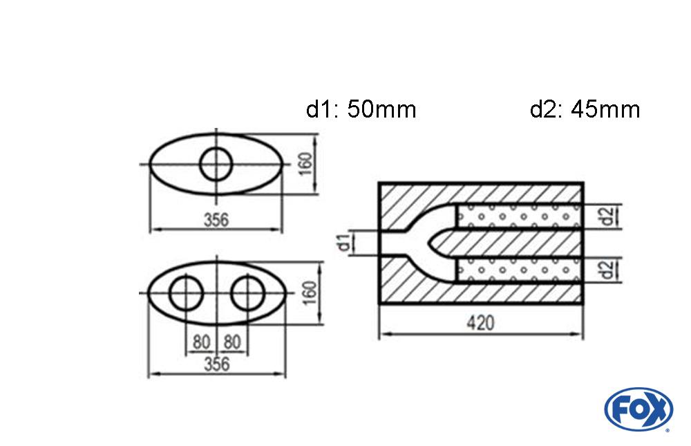 Fox Uni-Schalldämpfer UNI-H8184205045 für Universalschalldämpfer 818mm (Umfang)