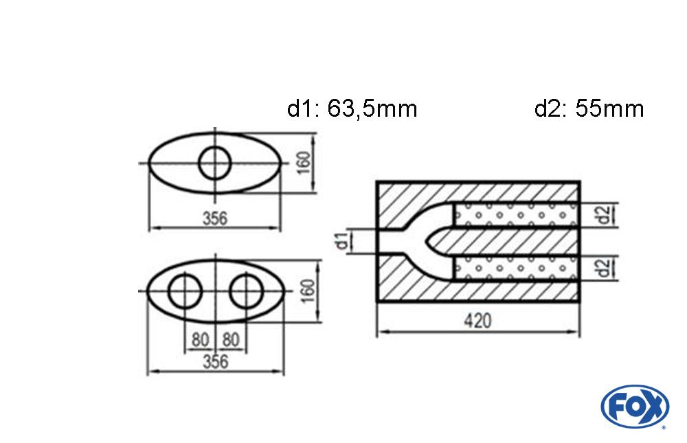 Fox Uni-Schalldämpfer UNI-H8184206355 für Universalschalldämpfer 818mm (Umfang)
