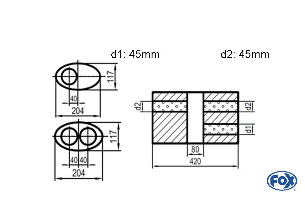 Fox Uni-Schalldämpfer UNI-V1K5254204545 für Universalschalldämpfer