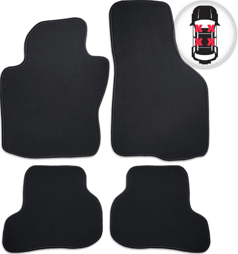 Fußmatten Velours Auto Matte Set schwarz für Audi A3 (Typ 8V) Cabrio ab Bj 03/14