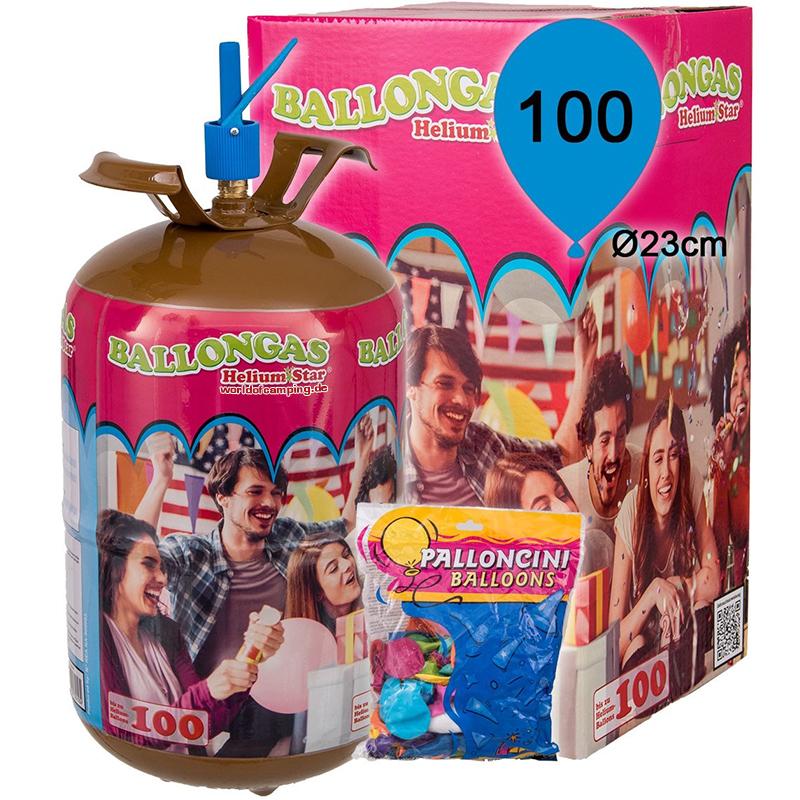 Helium Ballongas für 100 Luftballons Heliumflasche Folienballons inkl 100 Ballon