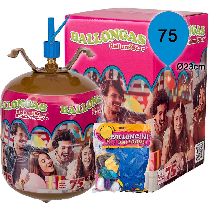 Helium Ballongas für 75 Luftballons Heliumflasche Folienballons inkl. 75 Ballons
