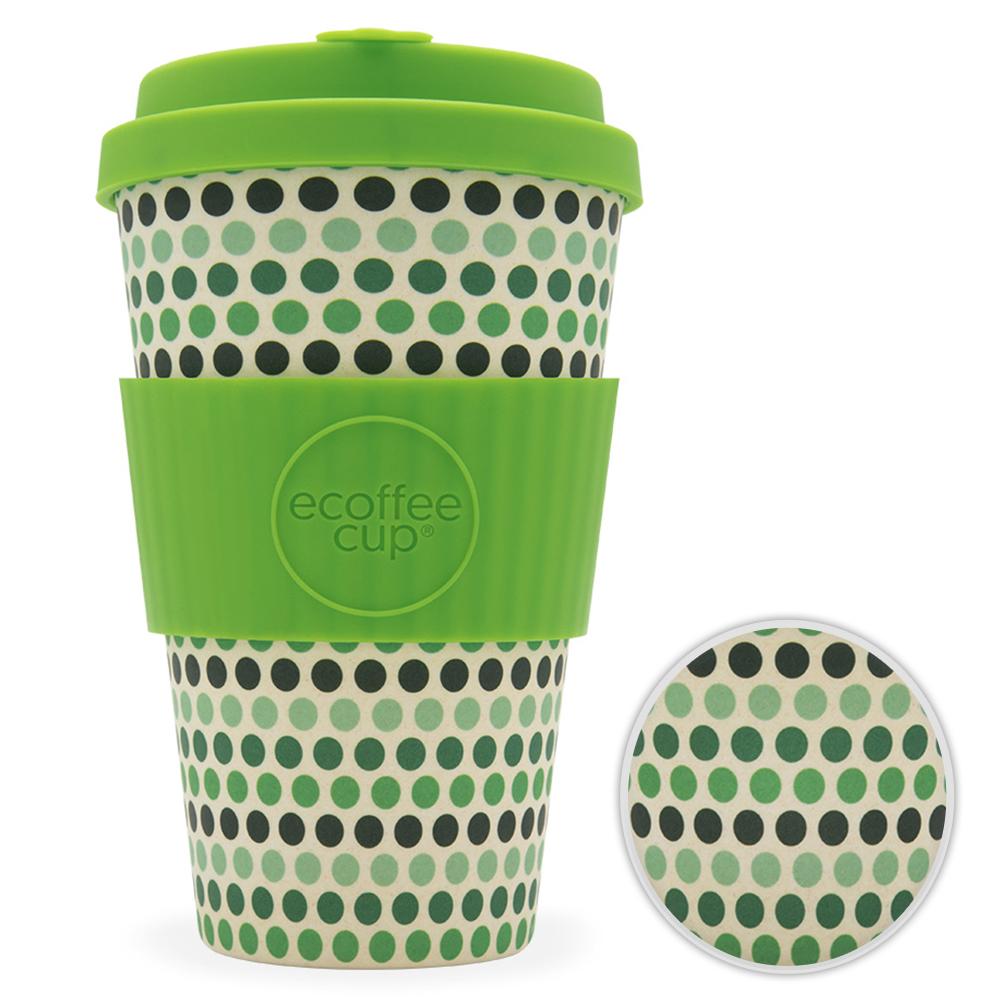 Kaffeebecher Bambusbecher Mehrwegbecher 400ml Kaffee Tee Becher Green Polka
