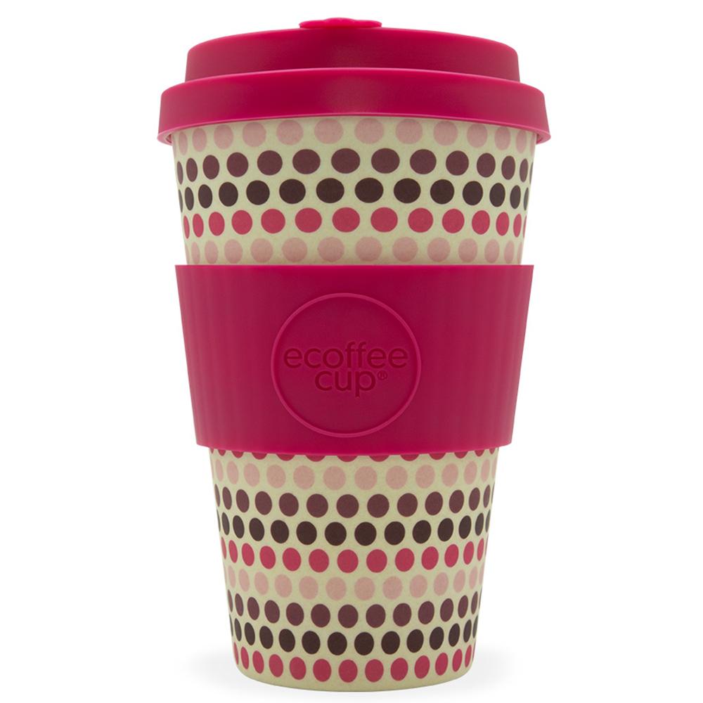 eCoffee Kaffeebecher Bambusbecher Mehrweg 400ml Kaffee to Go Becher Pink Polka