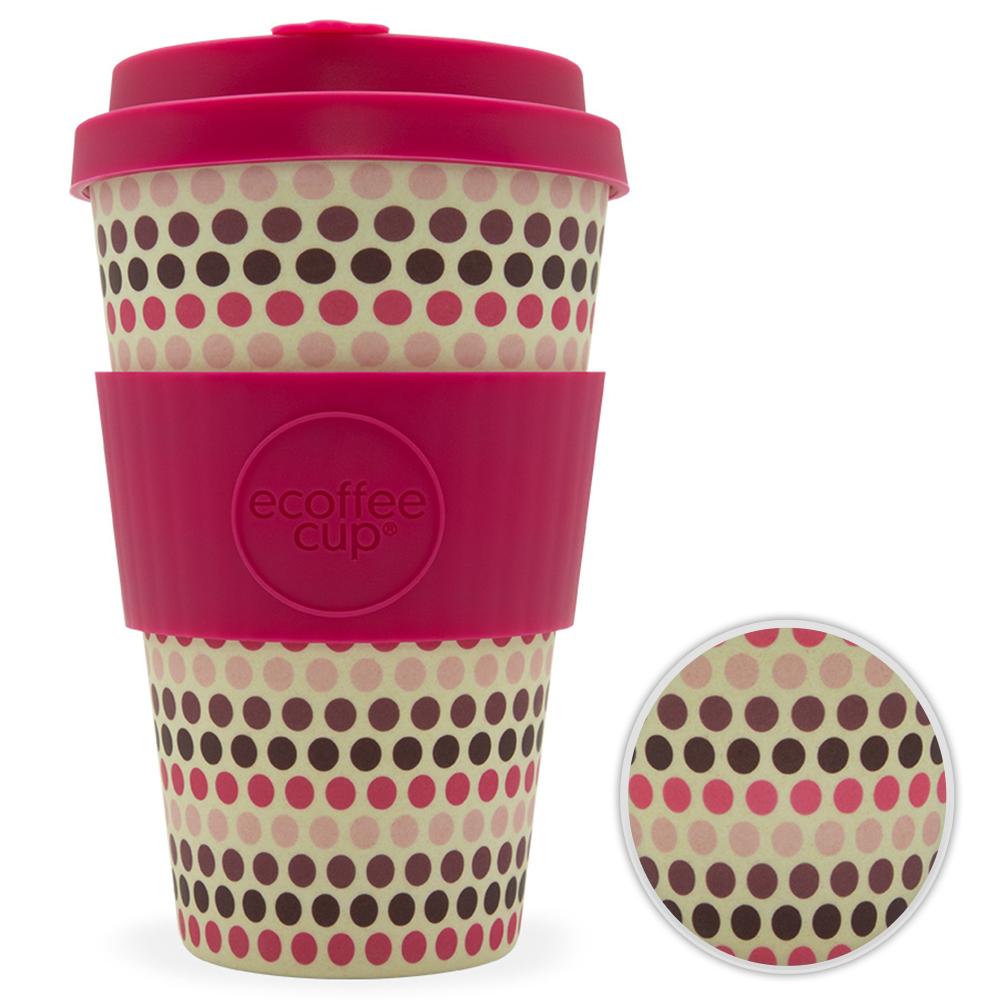 Kaffeebecher Bambusbecher Mehrwegbecher 400ml Kaffee Tee Becher Pink Polka