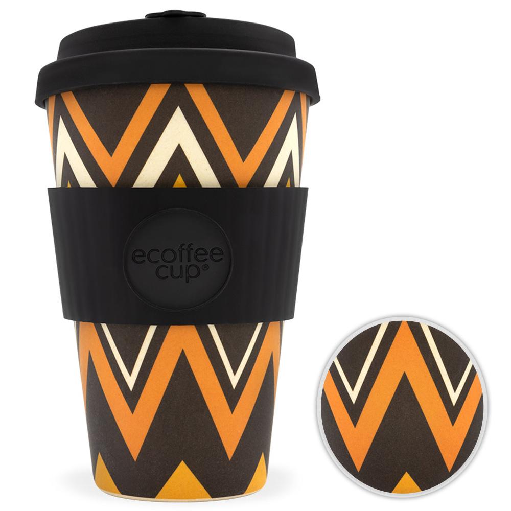 Kaffeebecher Bambusbecher Mehrwegbecher 400ml Kaffee Tee Becher ZignZag