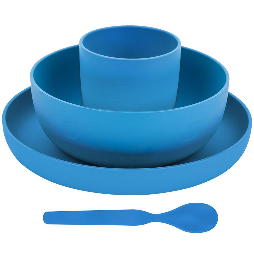 Geschirrset Geschirr Camping 4tlg Teller Becher Löffel Müslischale blau