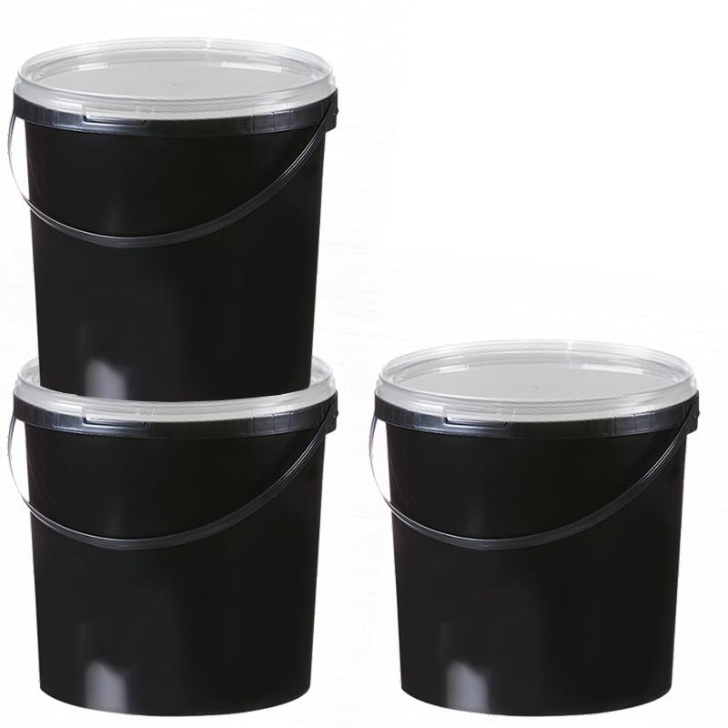 10 8l eimer schwarz aufbewahrung leereimer kunststoffeimer deckel plastikeimer ebay. Black Bedroom Furniture Sets. Home Design Ideas
