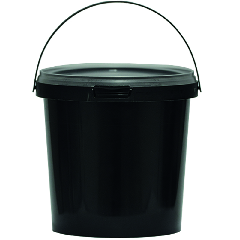 Eimer Schwarz Aufbewahrung Leereimer Kunststoffeimer Deckel Plastikeimer 1,2L