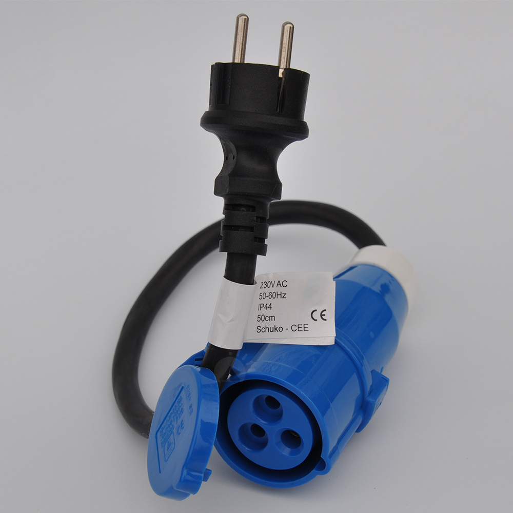 Adapter Kabel 230V CEE Stecker Schuko Kupplung 3x 2.5mm² 50cm Campingadapter