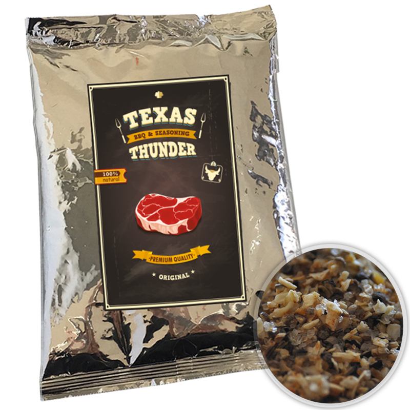 Texas Thunder BBQ 100% natürliches Grill Gewürz Steak- und Grillgewürzsalz 500gr