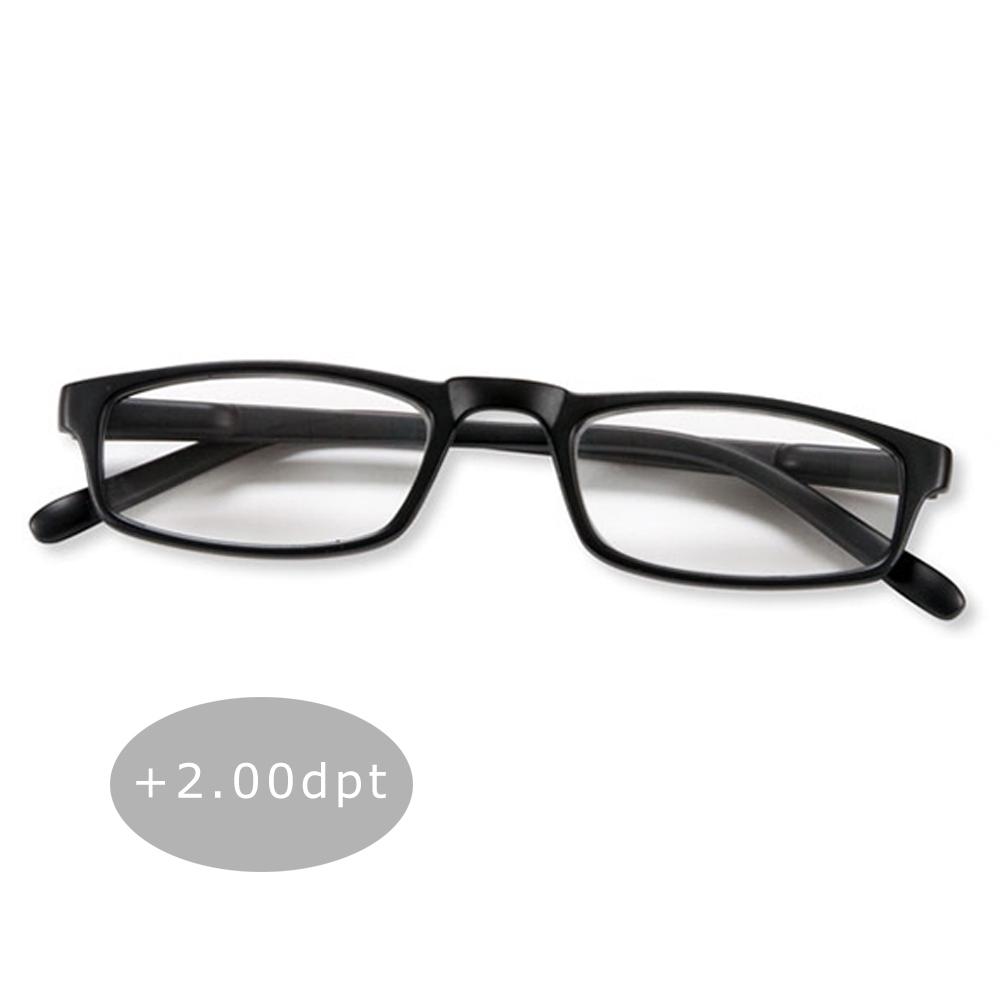 Lesebrille Lesehilfe Halblesebrille Brille Federbügel Unisex + 2.00 dpt Schwarz