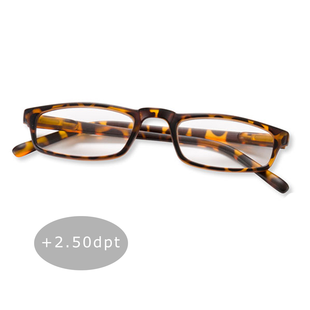 Lesebrille Lesehilfe Halblesebrille Brille Federbügel Unisex + 2.50 dpt Braun
