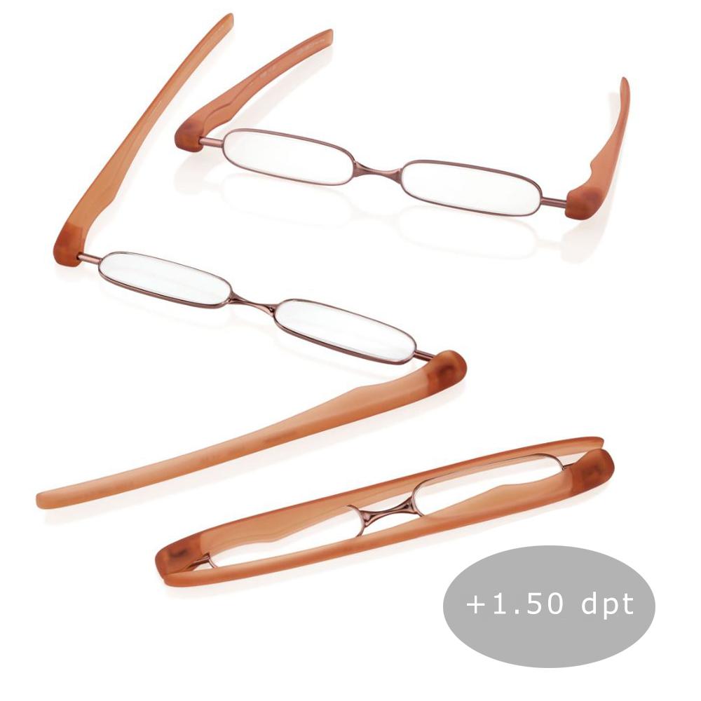 Podreader Lesebrille Faltbrille Lesehilfe Brille Unisex + 1.50 dpt Copper