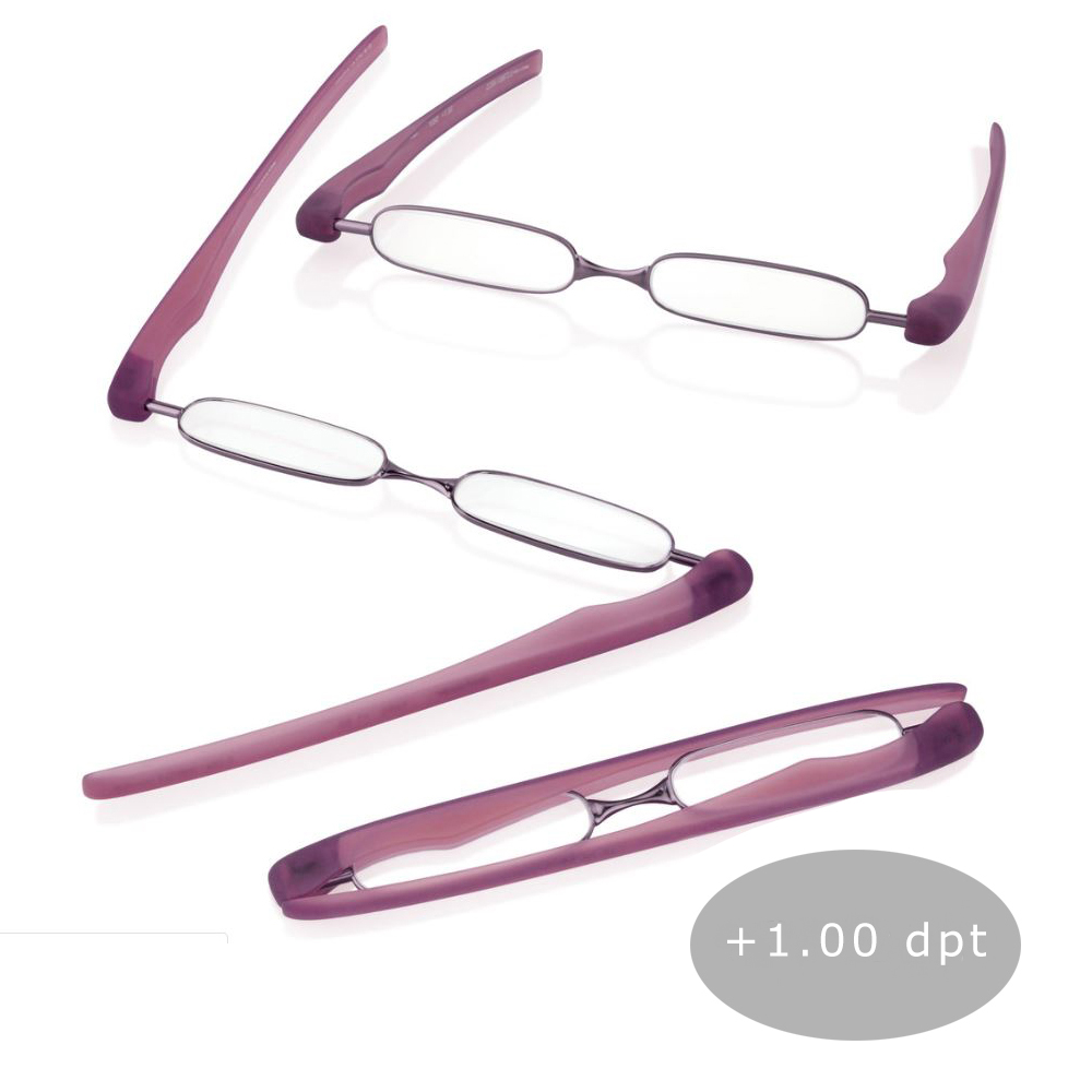 Podreader Lesebrille Faltbrille Lesehilfe Brille Unisex + 1.00 dpt Purple