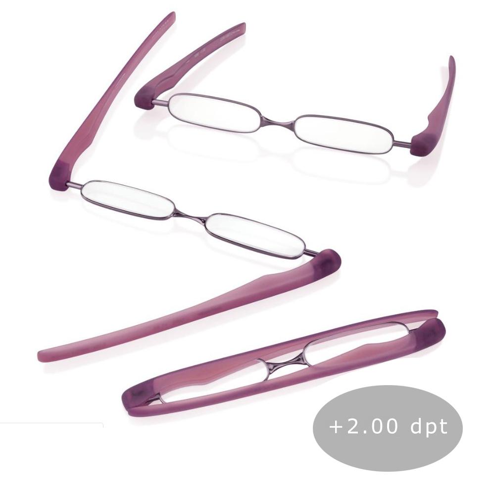 Podreader Lesebrille Faltbrille Lesehilfe Brille Unisex + 2.00 dpt Purple