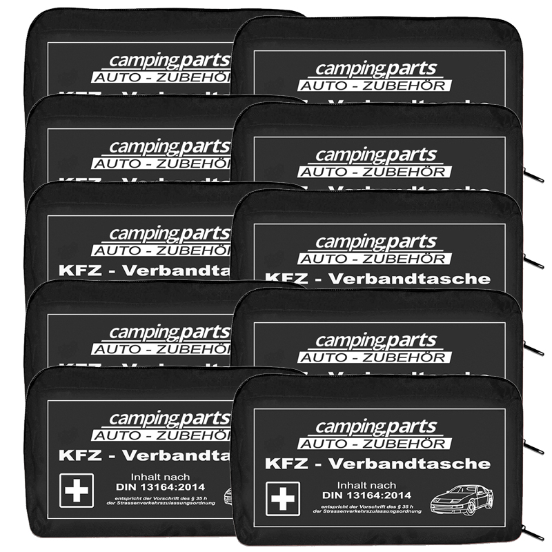 Auto Verbandskasten Verbandstasche KFZ Fahrzeug Verbandtasche DIN13164 10x Black