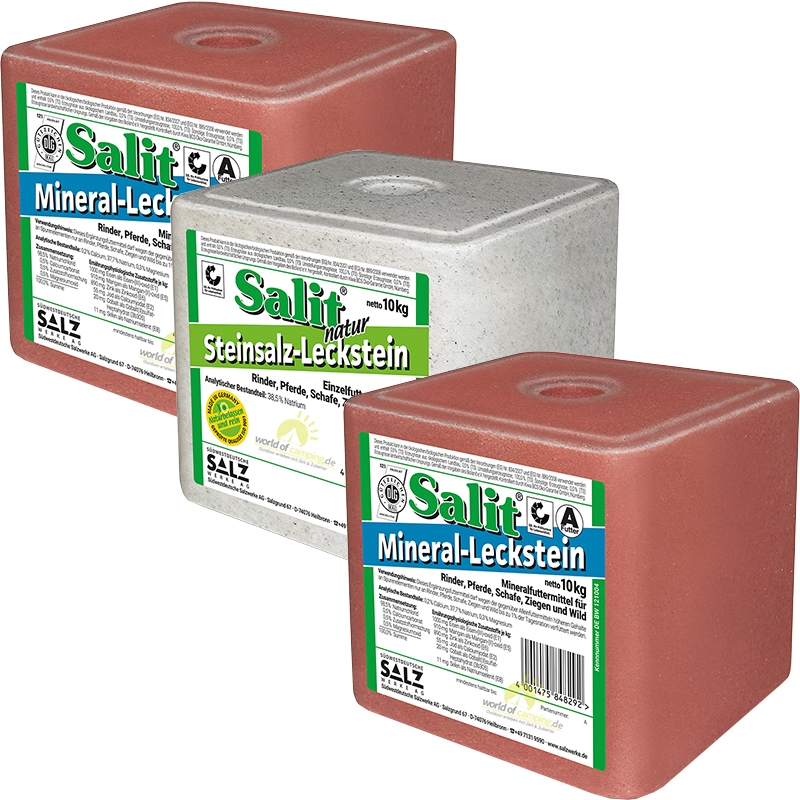 Salzleckstein Leckstein Mineralleckstein Siedesalz Natrium Steinsalz Set 30kg