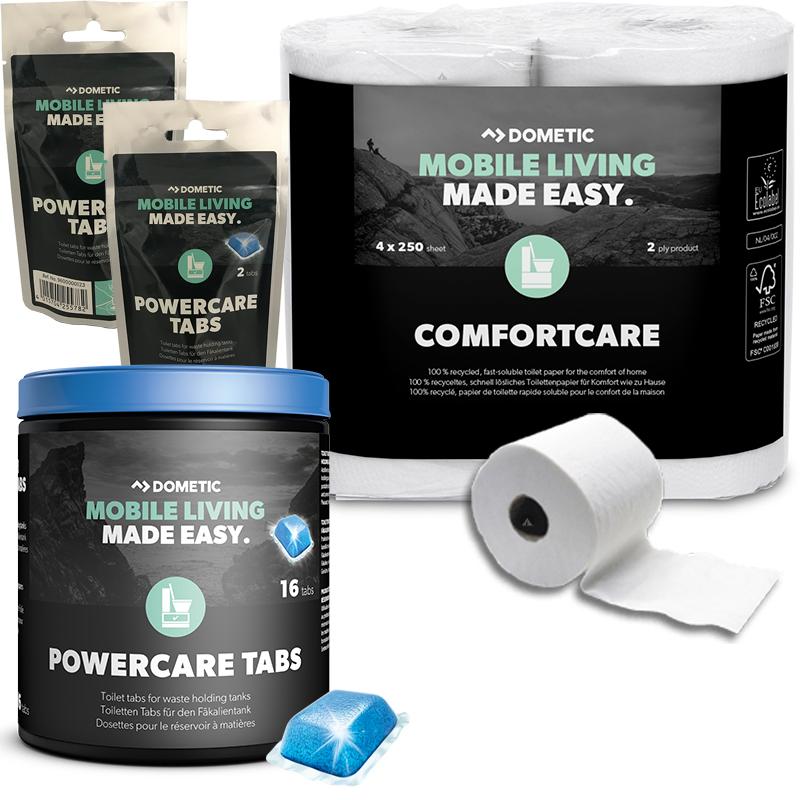 WAECO Dometic PowerCare Tabs 20 Stück + 4 Rollen Comfort Care Toilettenpapier WC