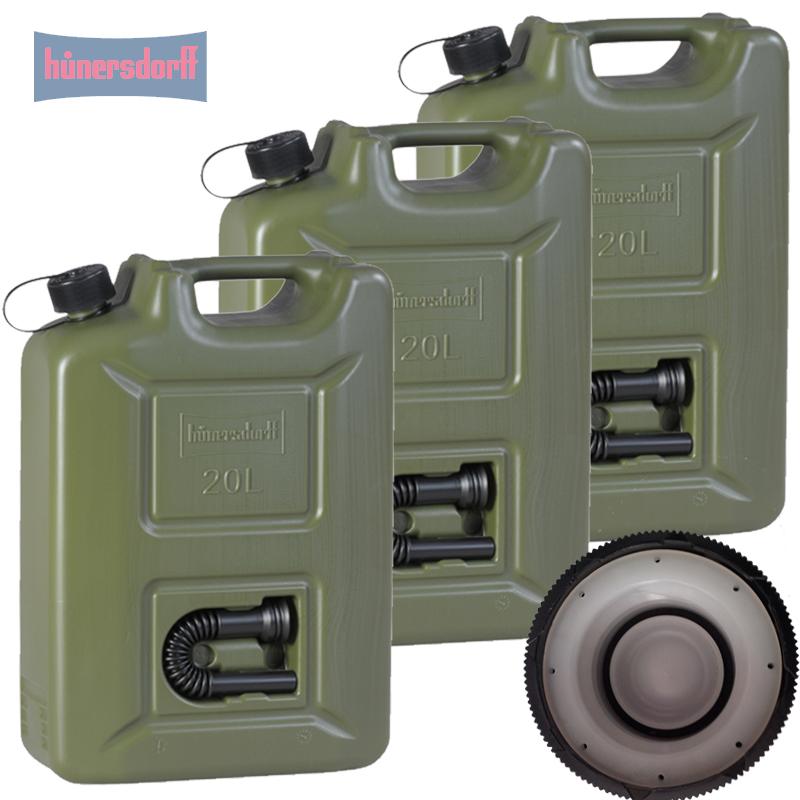 Hünersdorff 3x Benzinkanister Kraftstoff Kanister olivgrün 20 L UN-Zulassung Set
