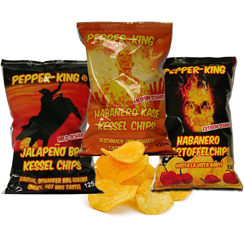Pepper King Make your Set - 10 Packungen Kartoffelchips frei aus 3 Sorten wählen