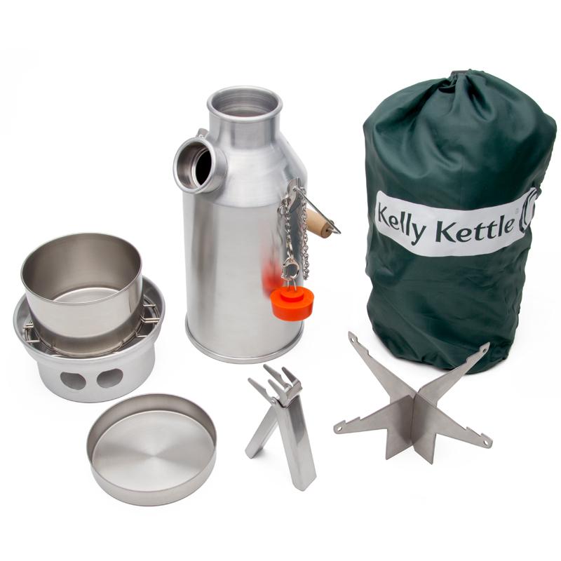 Kelly Kettle Basic Kit Edelstahl Sturmkanne Wasserkessel mit Zubehör