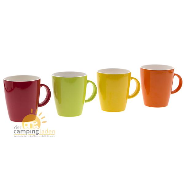 Gimex Melamin 4er Becherset Geschirr Tassen 4 Farben 350ml 100% Melamin