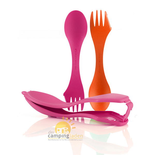 Light My Fire Sporks'n Case Göffel Messer Gabel Löffel Besteck fuchsia/orange